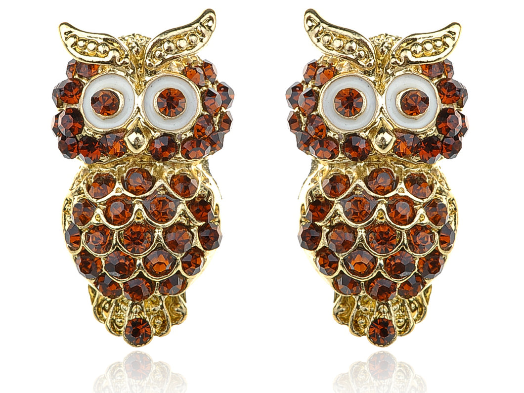 Beautiful Ruby Topaz Big Eyed Owl Stud Earrings