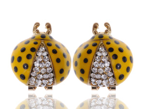 Fun Big Rounded Painted Ladybug Insect Stud Earrings