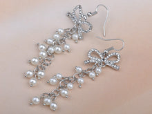 Load image into Gallery viewer, Gorgeous Pearlescent Bead Bow Dangle Fishhook Earrings