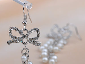 Gorgeous Pearlescent Bead Bow Dangle Fishhook Earrings