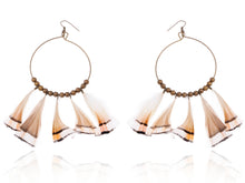 Load image into Gallery viewer, Tribal Hoop Bronze Beaded Ethnic Bird Feather Urban Hip Trend Hook Earrings