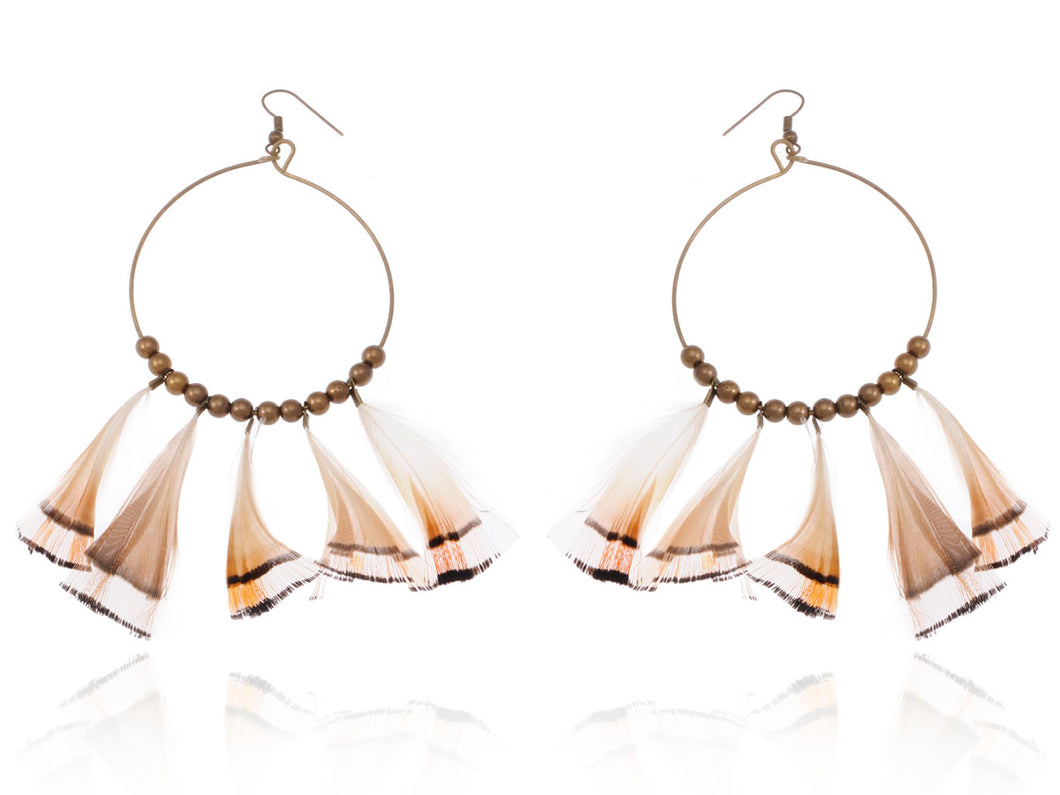 Tribal Hoop Bronze Beaded Ethnic Bird Feather Urban Hip Trend Hook Earrings
