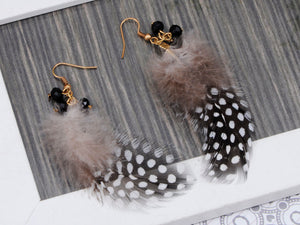 Gold Retro Grey Black White Polka Dot Feather Beaded Dangle Earrings