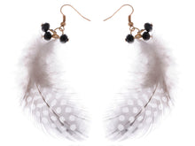 Load image into Gallery viewer, Gold Retro Grey Black White Polka Dot Feather Beaded Dangle Earrings