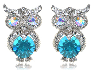 Turquoise Blue Colored Owl Bird Stud Earrings