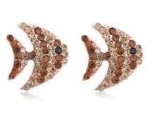 Load image into Gallery viewer, Copper Colored Swimming Striped Angel Fish Element Earrings