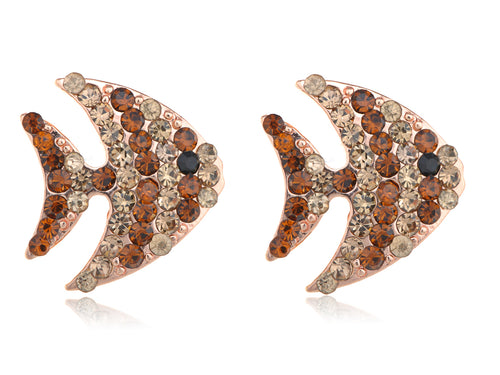Alilang Copper Colored Swimming Striped Angel Fish Crystal Rhinestone Element Earrings