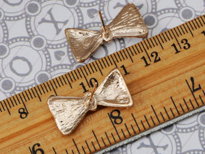 Brass Color Unequal Design Fancy Bowtie Sir Element Earrings