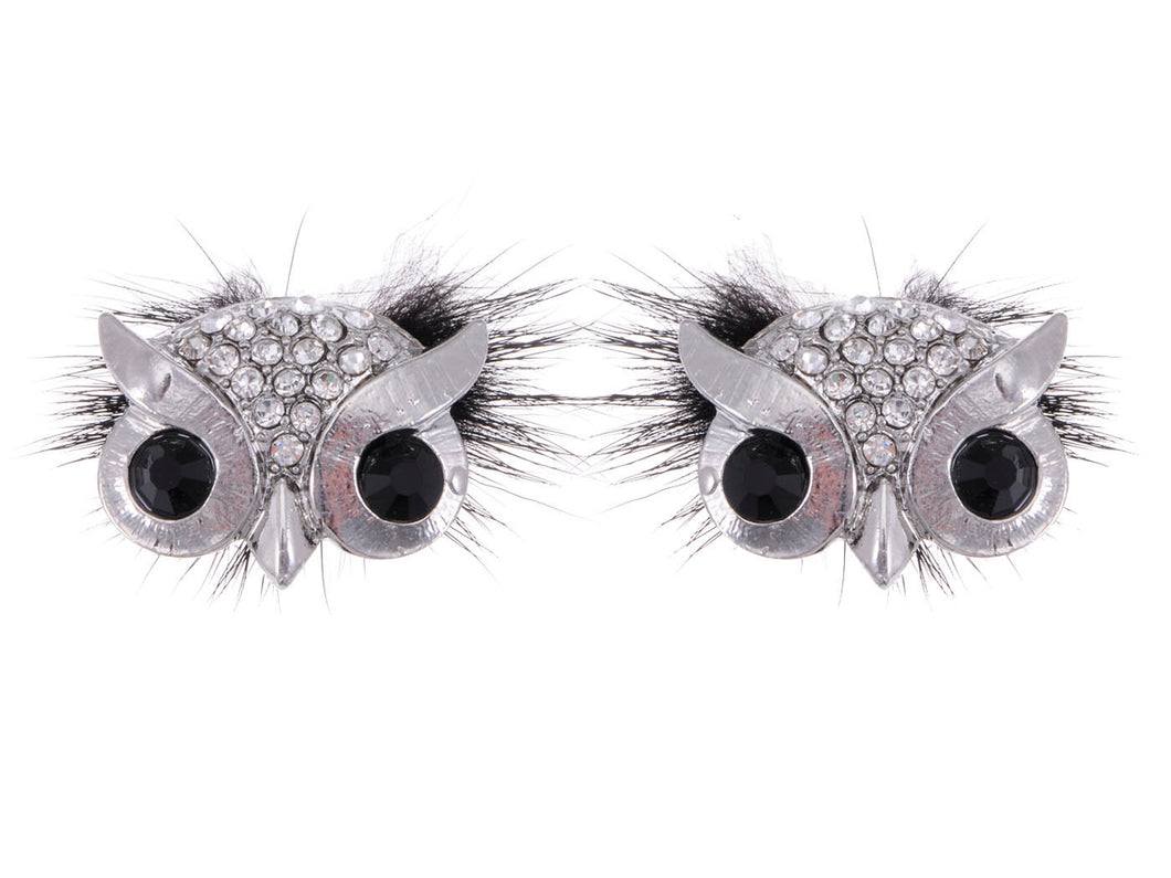 Color Furry Hair Owl Bird Masquerade Element Earrings
