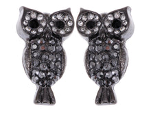 Load image into Gallery viewer, Steel Colored Staring Watch Owl Perch Bird Element Earrings