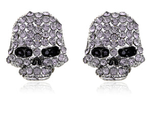 Scaled Threatening Scary Skull Element Earrings