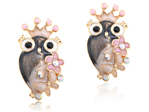 Queen Girly Owl Flower Element Earrings