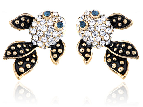 Alilang Brass Colored Spotted Speckled Goldenfish Crystal Rhinestone Element Earrings