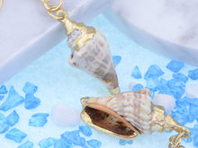 Load image into Gallery viewer, Accent Marine Nautical Brown White Conch Seashell Fish Mermaid Dangle Drop Earrings
