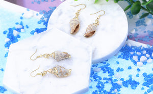 Accent Marine Nautical Brown White Conch Seashell Fish Mermaid Dangle Drop Earrings