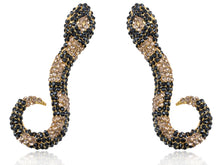 Load image into Gallery viewer, Topaz Black Encrusted Slithering Snake Pair Earrings