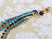 Load image into Gallery viewer, Aquamarine Blue Encrusted Multi Strand Dangling Earrings