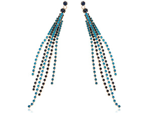 Aquamarine Blue Encrusted Multi Strand Dangling Earrings