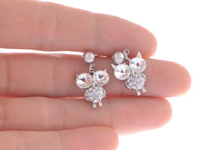 Load image into Gallery viewer, Color Twin Head Eye Horned Owl Element Earrings