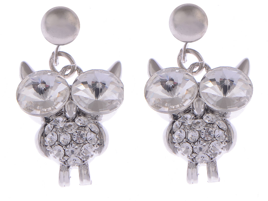 Color Twin Head Eye Horned Owl Element Earrings