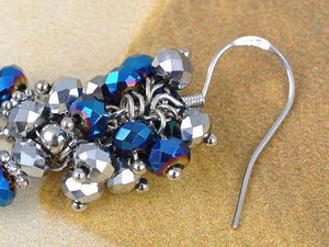 Blue Grey Shimmer Beaded Cluster Wreath Dangling Fish Hook Earrings