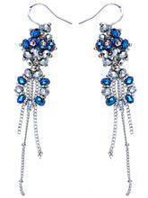 Load image into Gallery viewer, Blue Grey Shimmer Beaded Cluster Wreath Dangling Fish Hook Earrings