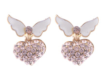 Load image into Gallery viewer, Topaz Pink White Enamel Butterfly Heart Earrings