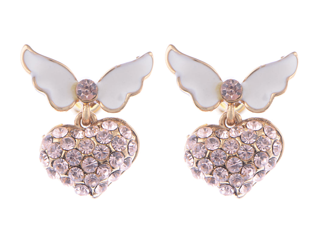 Topaz Pink White Enamel Butterfly Heart Earrings
