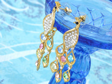 Load image into Gallery viewer, Aurora Borealis Pave Peacock Feather Dangle Drop Earrings