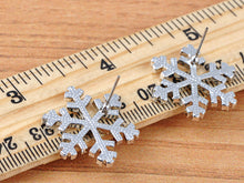 Load image into Gallery viewer, Festive Holiday Winter Snowflake Stud Earrings