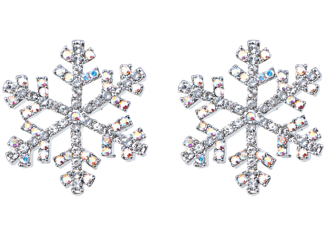 Festive Holiday Winter Snowflake Stud Earrings