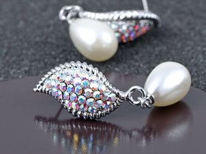 Petite Pearl Aurora Borealis Elements Wing Drop Earrings