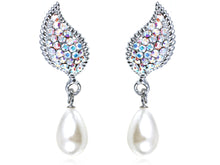 Load image into Gallery viewer, Petite Pearl Aurora Borealis Elements Wing Drop Earrings