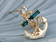 Load image into Gallery viewer, Blue Nautical Anchor Stud Earrings