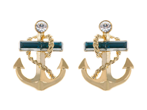 Blue Nautical Anchor Stud Earrings