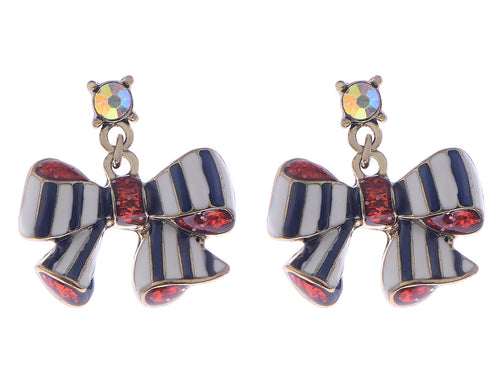 Multicoloured Bowtie Enamel Finish Delightful Candy Esque Earrings