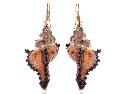 Alilang Sandy Tan Brown Colored Seashell Sea Shell Conch Design Fashion Drop Earrings