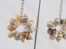 Load image into Gallery viewer, Sandy Tan Brown Colored Seashell Sea Shell Flower Design Drop Earrings