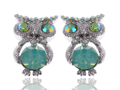 Silver Mini Pacific Opal Green Bodied Owl Button Earrings
