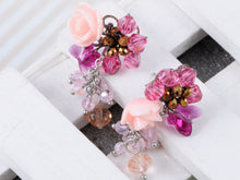 Load image into Gallery viewer, Mini Rose Pink Cluster Of Baubles Flower Trinkets Drop Earrings