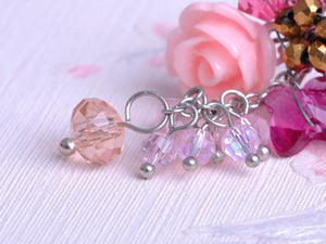 Mini Rose Pink Cluster Of Baubles Flower Trinkets Drop Earrings