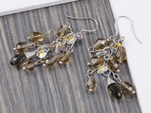Load image into Gallery viewer, Petite Smoky Grey Cluster Of Beads Classic Drop Earrings