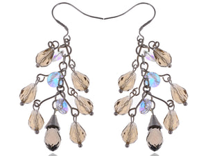 Petite Smoky Grey Cluster Of Beads Classic Drop Earrings