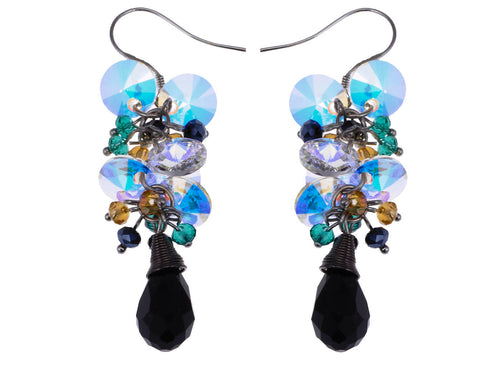 Petite Cluster Of Baubles Aurora Borealis Light Reflect Dangle Earrings