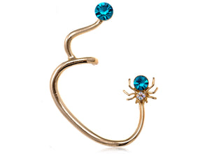 Mini Blue Bodied Spider Earring Ear Cuff