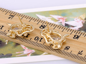 Mini Lucky Fortune Symbol Bodied Asian Frog Button Earrings