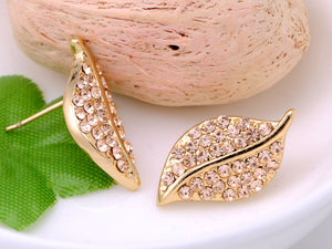 Mini Topaz Encrusted Nature Leaf Button Earrings