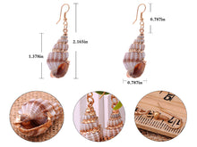 Load image into Gallery viewer, Multicolor Accent Ocean Seashell Couch Mermaid Sea Witch Drop Dangle Earrings