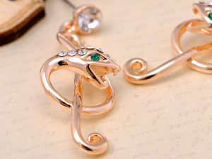 Slithering Snake Into A Treble Clef Music Notes Drop Earrings