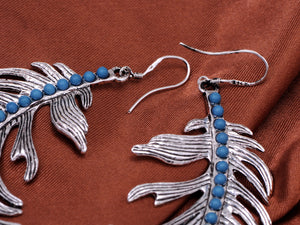 Blue Turquoise Peacock Feather Hook Jewelry Earrings With Ss For Women